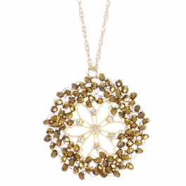 Wholesale WA00 Beads Wreath Necklace W/ Rhinestone Gg