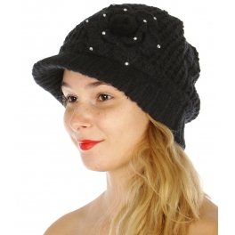 Wholesale O50D Knit visor hat with flower & rhinestone Black