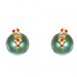 Wholesale WA00 Candy cane & faux pearl reversible studs GN