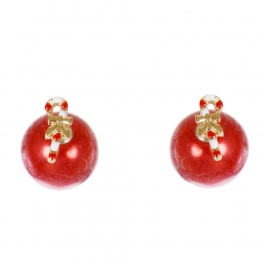 Wholesale WA00 Candy cane & faux pearl reversible studs RD