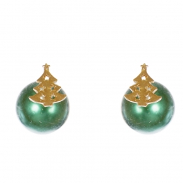 Wholesale WA00 Christmas tree & faux pearl reversible studs GN