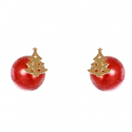 Wholesale WA00 Christmas tree & faux pearl reversible studs RD
