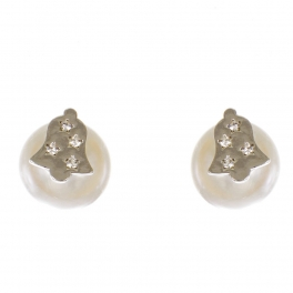 Wholesale WA00 Christmas bell & faux pearl reversible studs CR