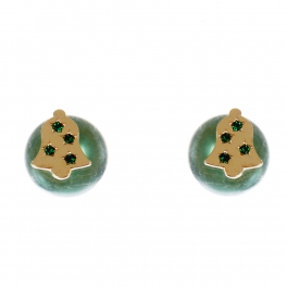 Wholesale WA00 Christmas bell & faux pearl reversible studs GN