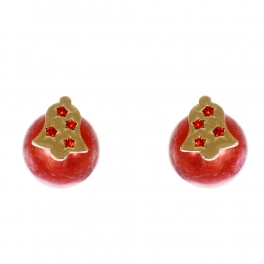 Wholesale WA00 Christmas bell & faux pearl reversible studs RD