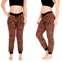 Wholesale T86 Plush jogger pants, Natural Leopard AOP