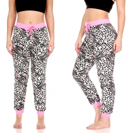Wholesale T87 Plush jogger pants, Wht/Blk/Pink Animal AOP