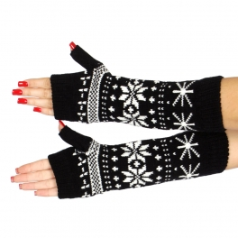 Wholesale T20 Mid-length snowflakes arm warmers BK
