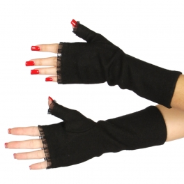 Wholesale T20 Lace trim fingerless wool gloves BK