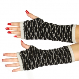 Wholesale T20 Wave knit mid-length arm warmer BK