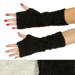 Wholesale T69B Mid-length checker board knit arm warmers assorted color dozen