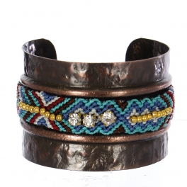 Wholesale Rhinestone & fabric Embellished Metal Cuff CBTQ