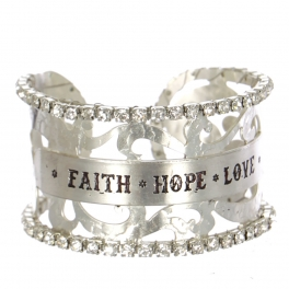 Wholesale Filigree cutout rihinesonte cuff - Faith Hope Love S