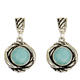 Wholesale L03B Round jade & thick knot earrings ASTQ