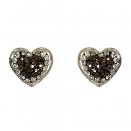 Wholesale L07D Heart studs w/ two tone rhinestones WS