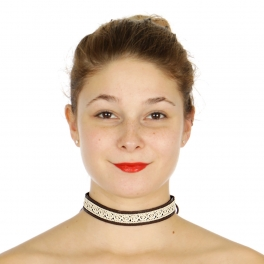 Wholesale N36E Lace & faux leather ribbon choker GB