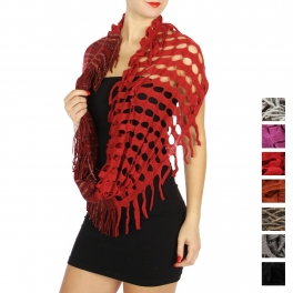 Wholesale U33A Knit sparkles & fringe infinity scarves assorted color Dozen