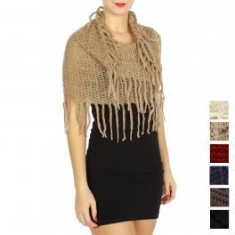 Wholesale U33A Knit fringe neck warmers assorted color Dozen