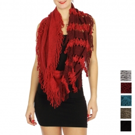 Wholesale U33B Two-tone fringe infinity scarves assorted color Dozen