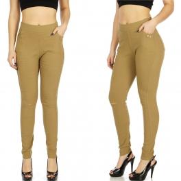 Wholesale A38C Ripped knees solid leggings pants Khaki