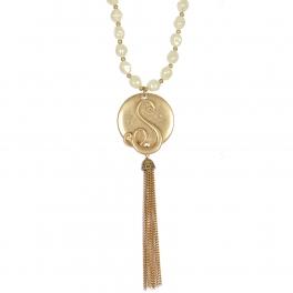 "Wholesale WA00 Monogram ""S"" & tassel pendant pearl 27"" necklace SWG"