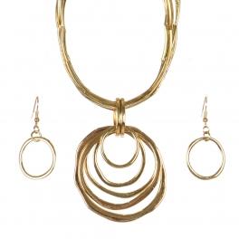 Wholesale WA00 Metal rings pendant & metal string necklace set GD