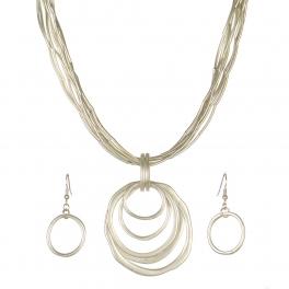 Wholesale WA00 Metal rings pendant & metal string necklace set MS