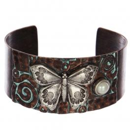Wholesale WA00 Butterfly & faux pearl metal statement cuff bracelet OGSB
