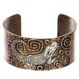 Wholesale WA00 Crocodile & faux pearl metal statement cuff bracelet RGBSB