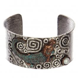 Wholesale WA00 Crocodile & faux pearl metal statement cuff bracelet SBOG