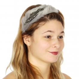Wholesale BX00 Beads embellished faux fur head band GRHT