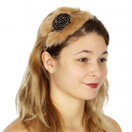 Wholesale BX00 Faux fur & circular beads deco head band BGJ