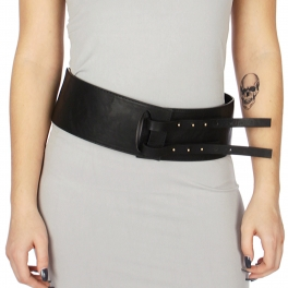 Wholesale M38B Double clasp wide faux leather belt Black
