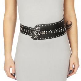 Wholesale M34E Circular studs faux leather belt Black