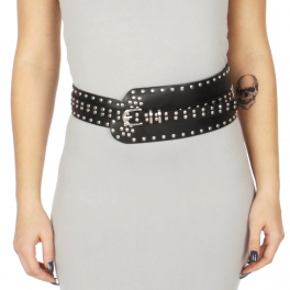 Wholesale M34E Circular studs faux leather belt Black