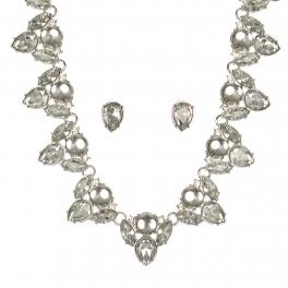 Wholesale WA00 Pear shaped stones necklace & earrings set RHCR