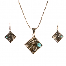 Wholesale L32B Metal square swirl necklace set RGB