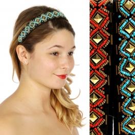 Wholesale M04D Metal diamond w/ small beads Headband Dozen