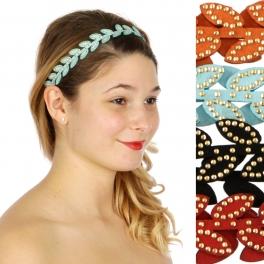 Wholesale M04D Faux Leather Wreath w/ rinestone Headband Dozen