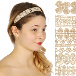 Wholesale M04D floral embroidered Headband Dozen