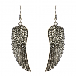 Wholesale M24E Metal Wings with Rinestones Earrings SBCRY