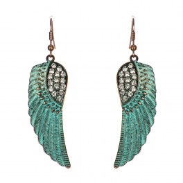 Wholesale M24E Metal Wings with Rinestones Earrings OGCRY