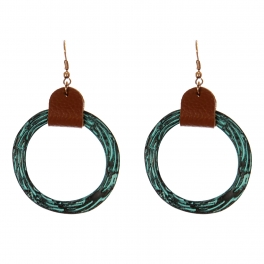 Wholesale WA00 Textured hoop w/ faux leather statement earrings OG