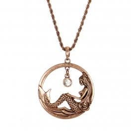 Wholesale M28B Mermaid & rhinestone pendant necklace COP