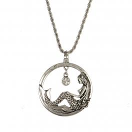 Wholesale M28B Mermaid & rhinestone pendant necklace SB