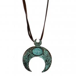 Wholesale M28B Turquoise & crescent moon pendant necklace OG