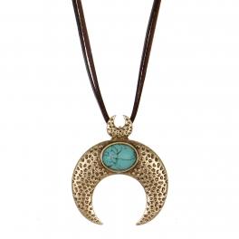 Wholesale M28B Turquoise & crescent moon pendant necklace RGB