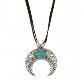 Wholesale M28B Turquoise & crescent moon pendant necklace SB