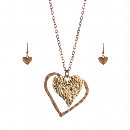 Wholesale M28C Hearts & tree pendant necklace set MCOPRGB