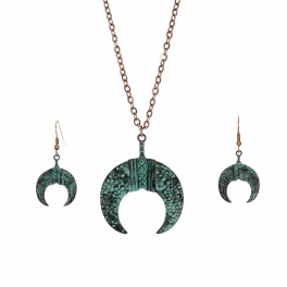 Wholesale M28C Crescent moon pendant necklace set OG